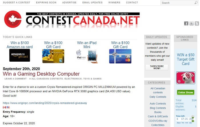 giveaway sites canada