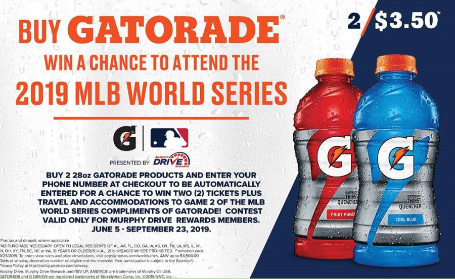 Buy Gatorade Drink to Win MLB World Series 2019 Trip for 2