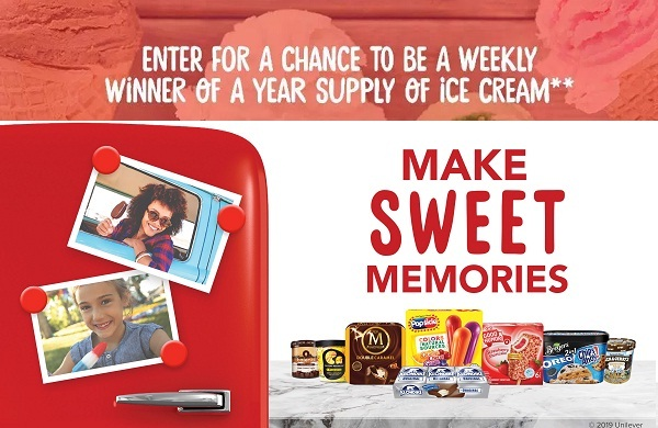 Unilever Ice Cream Sweepstakes: Win Free Ice Cream