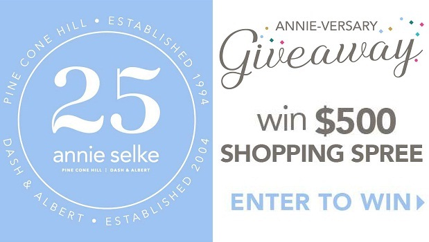 Annie Selke 25th Anniversary Sweepstakes