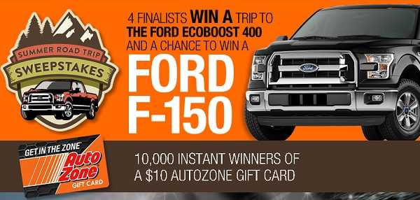 AutoZone Summer Sweepstakes and Trip Instant Win Game