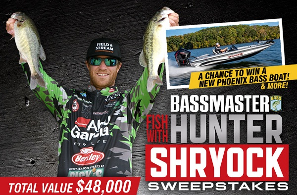Bassmaster.com Fish with Hunter Shryock Sweepstakes