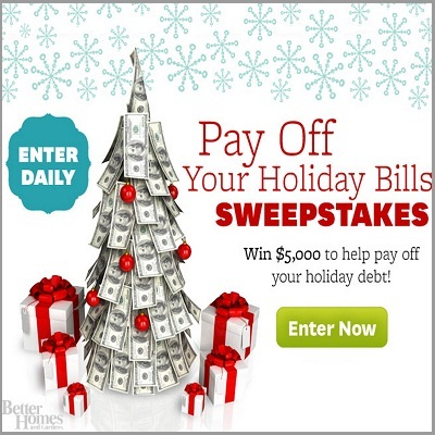 BHG.com Pay Off Your Holiday Bills Sweepstakes
