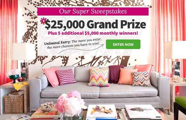 BHG Super Sweepstakes: Win $25,000 plus $5000 Monthly