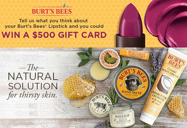 Burt's Bees Survey - Enter to win a $500 Gift Card