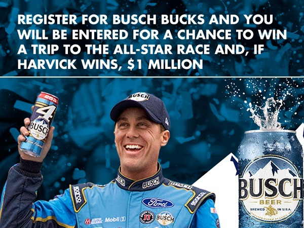 Busch Bucks All-Star Race Sweepstakes: Win $1 Million If Harvick Wins