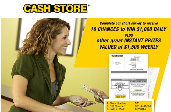 Cash Store Survey Sweepstakes: Win $1000 Daily or $1500 Weekly