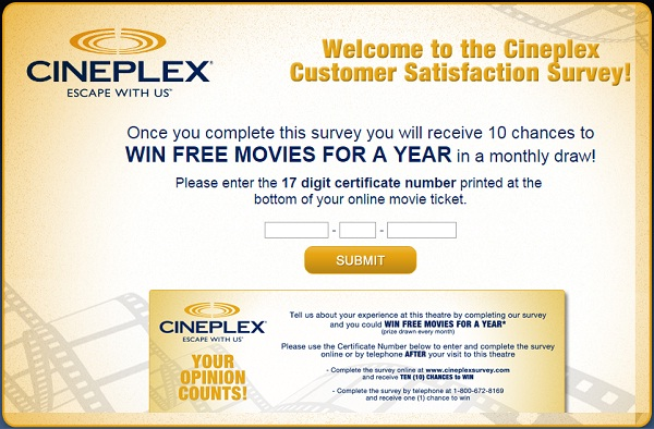 Take Cineplex Customer Survey To Win Free Movie Tickets For A Year
