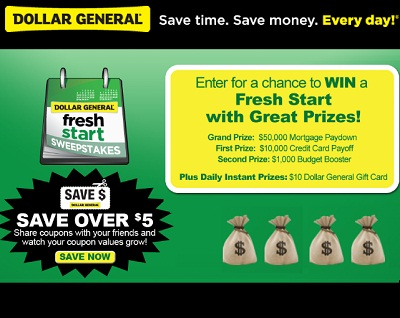 Dollar General Fresh Start Sweepstakes: Win A Fresh Start in 2012