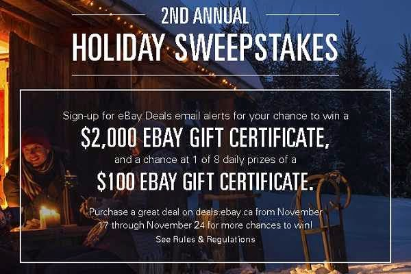 Win eBay Gift Certificates on 2nd Annual Holiday Sweepstakes