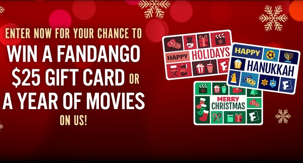 Fandango.com Holiday Daily Gift Card Giveaway