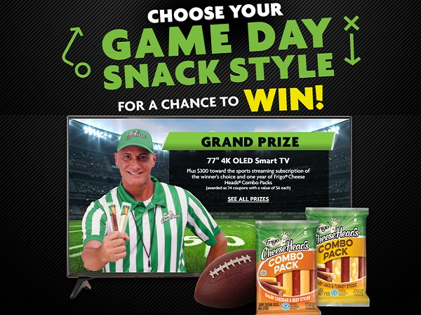 Frigo Cheese Heads Game Day Snack Style Sweepstakes on Fchsnackstyle.Com