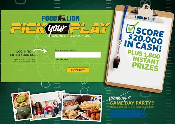 FoodLion.com Pick Your Play Instant Win Game: Win Cash or Gift cards
