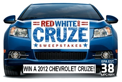 Win Chevrolet Cruze in Red, White and Cruze Sweepstakes