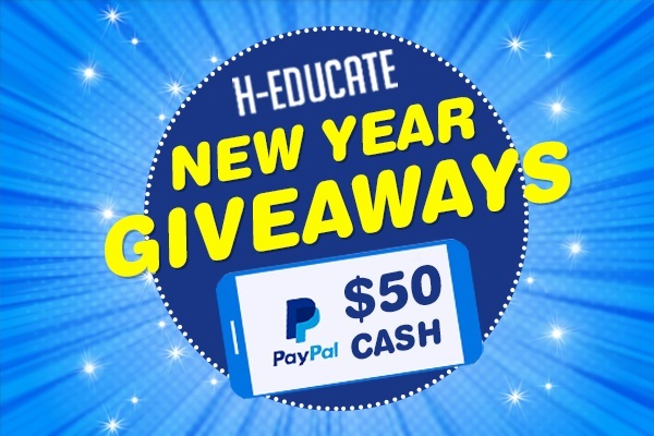 H-educate New Year Giveaway: Win $50 Paypal Cash & More