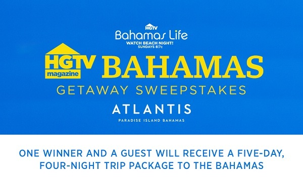 HGTV.com Magazine Atlantis Trip Sweepstakes