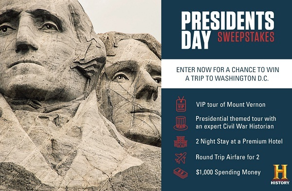 History.com Presidents Day Sweepstakes