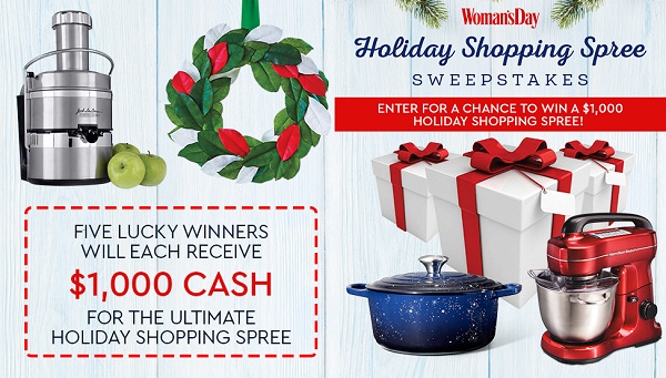 Woman's Day Holiday Cash Sweepstakes: Win $1000 Cash for Shopping