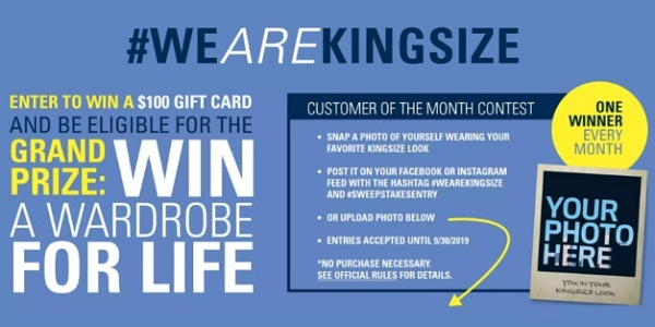 Kingsizedirect.com Win a Wardrobe for Life Sweepstakes