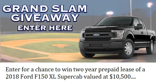 Liberty Ford Grand Slam Giveaway: Win 2 year Ford F150 XL Lease!