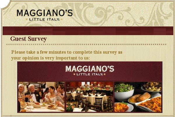 Tell Maggiao's Feedback in Customer survey on maggianos-survey.com