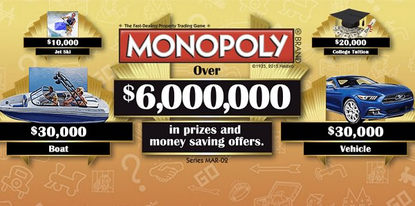 2015 Marsh Monopoly Collect And Win Game