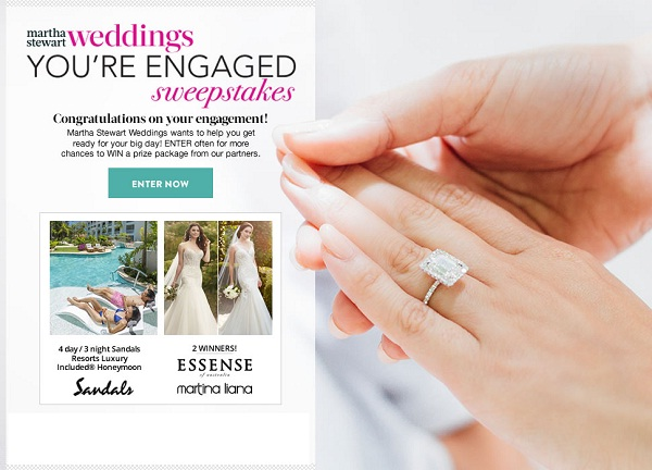 Martha Stewart Weddings You're Engaged Sweepstakes