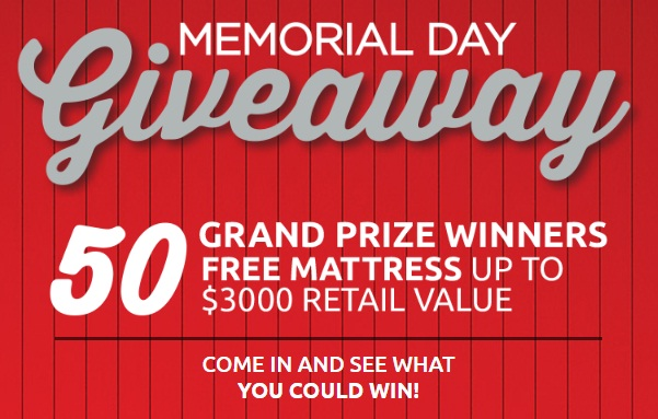mattress firmu0027s memorial day sale has been started in a store near you and now you could be lucky one to win free gift voucher worth to purchase