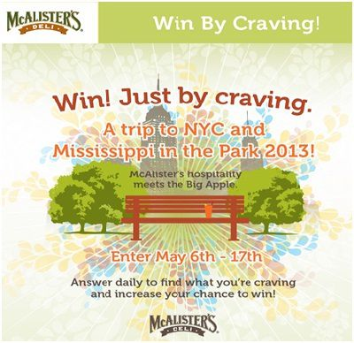 McAlistersDeli Win By Craving Sweepstakes