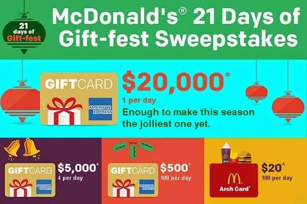 Mcdonalds 21 days of christmas sweepstakes