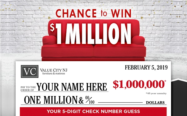 Value City Furniture 1 000 000 Check Number Guess Contest