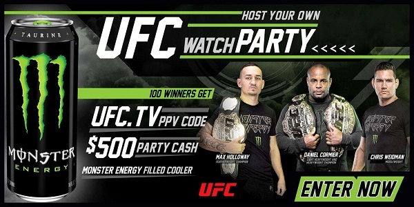 Monsterenergy.com Chance to Win a UFC Watch Party Sweepstakes