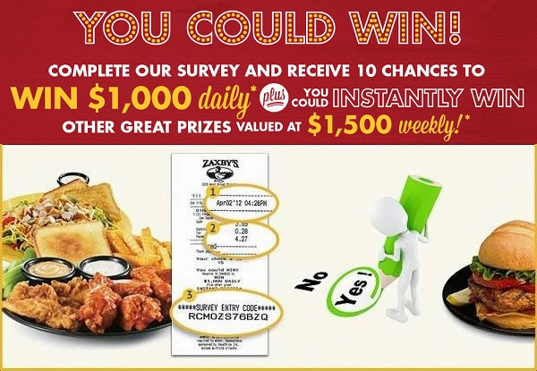 Win $1,000 on My Zaxby's Visit Survey Sweepstakes