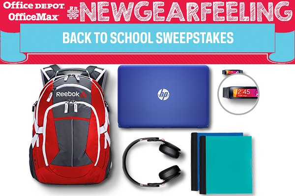Office Depot #NewGearFeeling Back to School Sweepstakes