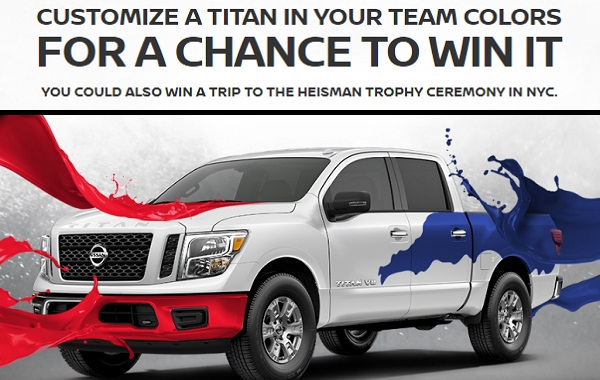 Win 2019 Nissan Titan in Nissan Heisman House Sweepstakes