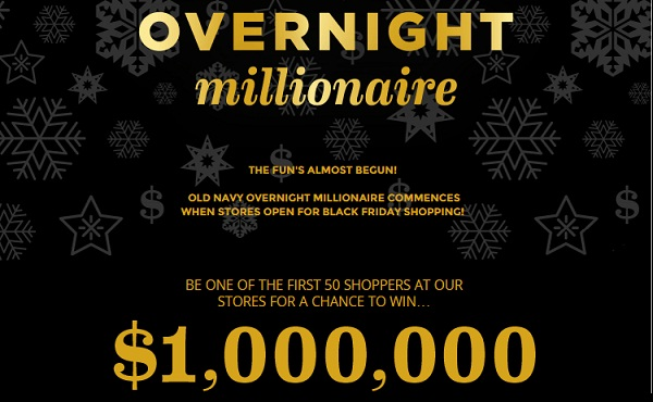 Old Navy Overnight Millionaire Sweepstakes: Win $1,000,000
