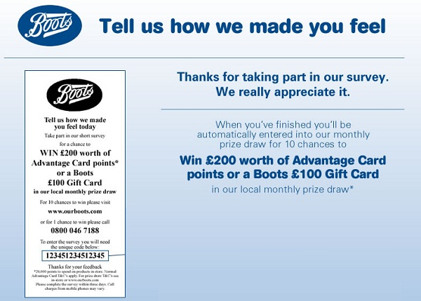 Win £200 in Our Boots Pharmacy Survey Sweeps
