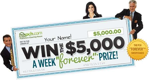 PCH $5,000 00 A-Week-Forever Prize Giveaway No  4900 | SweepstakesBible