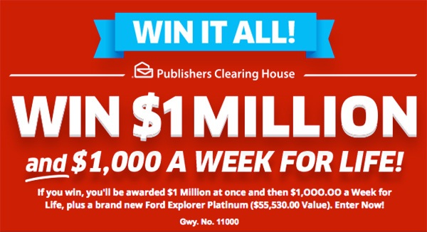Pch com Win it All Giveaway No  11000: Win $1 Million and $1,000 a