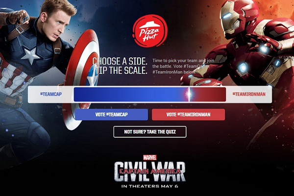 Pizza Hut & Marvel's Captain America: Civil War Sweepstakes