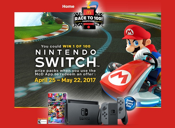McDonald's Race To 100 Sweepstakes: Win A Nintendo Switch