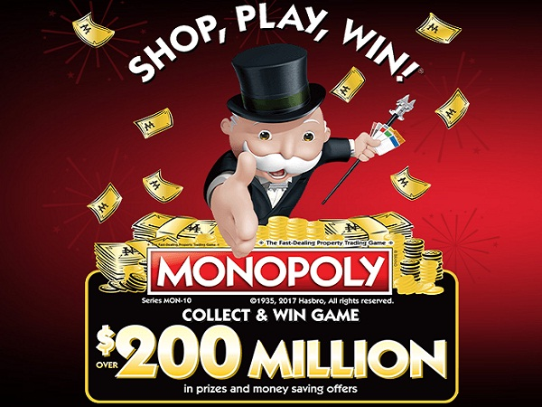 Play Monopoly Collect and Win Game to win over $200,000,000