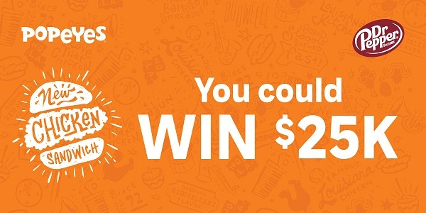 Popeyes Peel and Win Game on Popeyes25kgiveaway.com