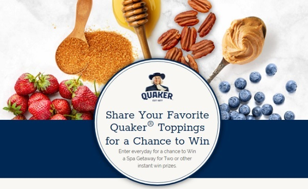Quaker Oatmeal Sweepstakes and IWG on QuakerToppings2020.com