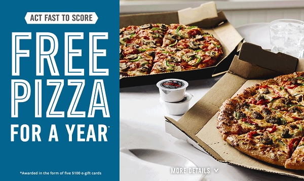 Quikly Domino's Giveaway: Win Free Domino's Pizza for a Year!