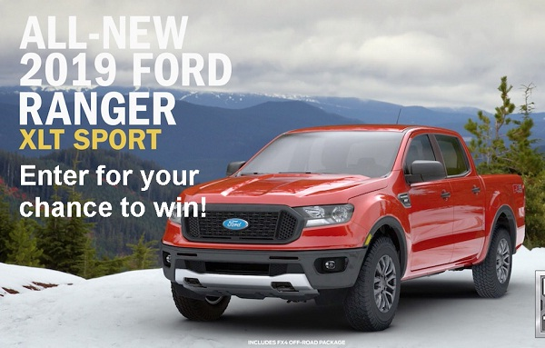 Ford Ranger Drive Tour Sweepstakes on rangerdrive.com