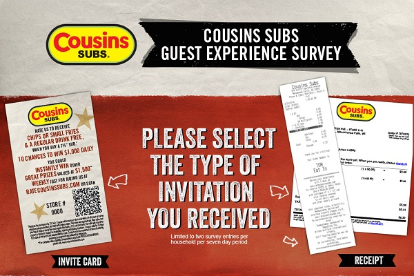 Win $1000 Daily and $1500 Weekly In Cousins Subs Survey Sweepstakes