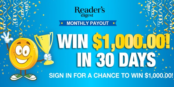 Reader Digest Monthly Payout Sweepstakes