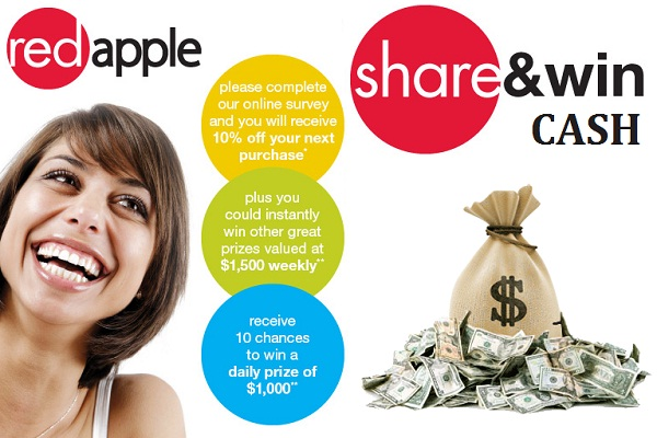 Tell Red Apple Feedback in Survey and Win $1000 Daily, $1500 Weekly