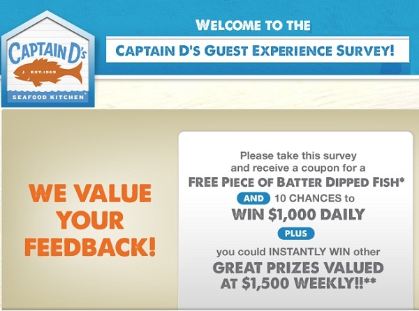 Captain D's Customer Experience Survey: Win Coupon for a Free 1 Pc Fish